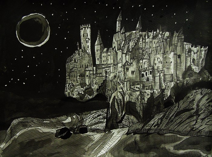 Night Castle, Indian ink on Watercolour paper, made in 2015.