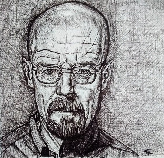 The one who knocks, pen drawing, by Inkyandthepen