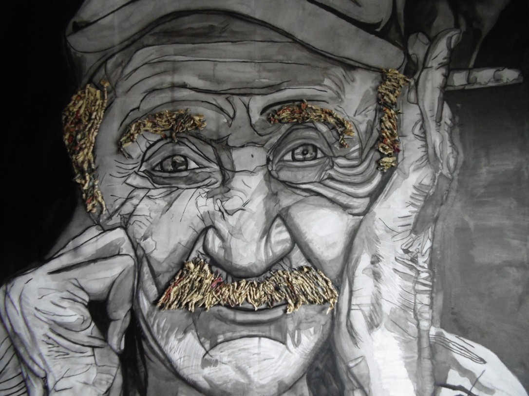 Old man smoking, painted with Indian ink, twisted newspaper glued onto canvas as eyebrows and hair. Made in 2013 by InkyandthePen (Aine Kelly)