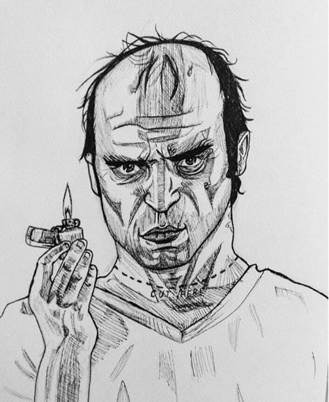 Trevor from GTA 5, felt tip pen, 2016.